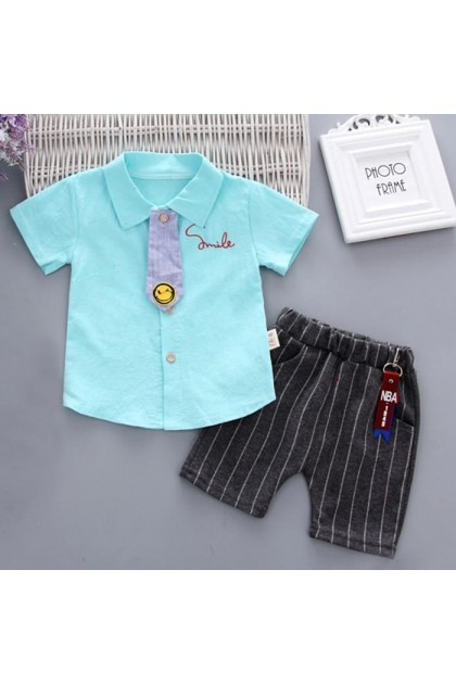 BB934 Baby Boy Collared Tie Shirt With Short Pant Set