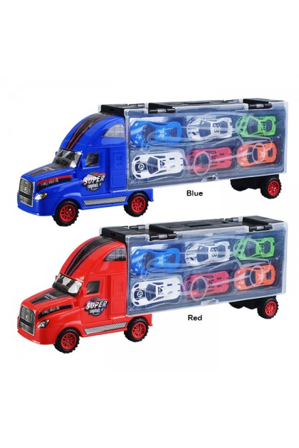 BB1008 Children's Cargo Truck Lorry Container With 6 Car Gift Box Vehicles Set Toys