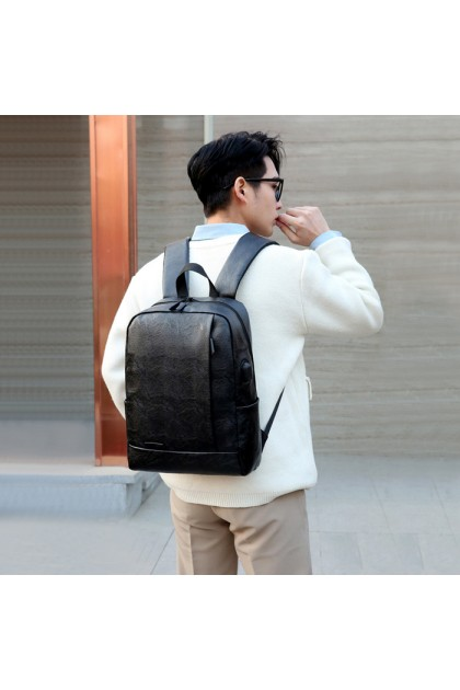 SK591 Casual PU Leather Business Computer Student School Backpack with USB