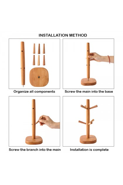 HM296 Creative Wooden Cup Drainage Rack Holder