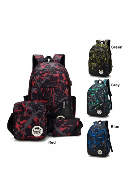 SK093 Camouflage Large Capacity 3 In 1 Waterproof Backpack Set