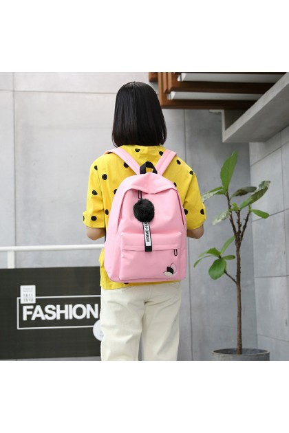 BG3917 Korean Style Leaf Canvas School Bag Travel Backpack