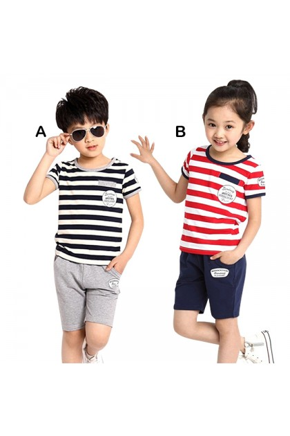 BB924 Unisex Baby Kids Fashion Striped Clothes 0-12Y Set